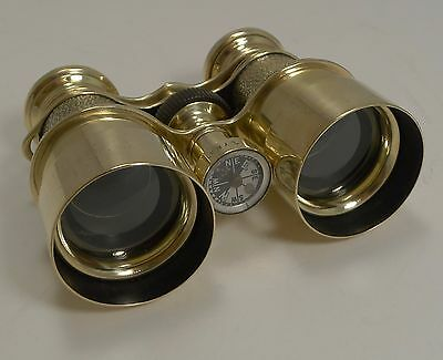 Antique English Field Glasses / Binoculars by Lawrence and Mayo - With Compass