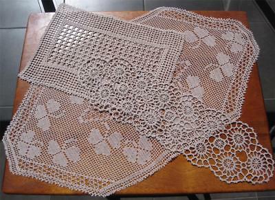 Three Vintage Hand Crochet/Filet DOILIES in Taupe