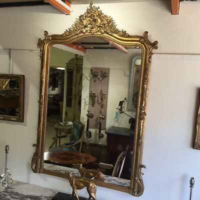 LARGE FRENCH ANTIQUE LOUIS XV STYLE GILT MIRROR    Ref c1236