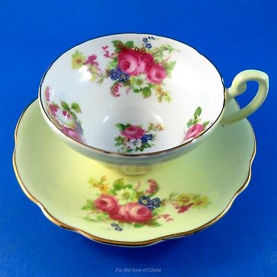 Pretty Floral Bouquet on Yellow Foley Tea Cup and Saucer Set
