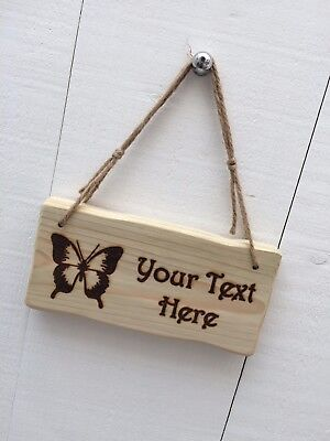 Rustic Driftwood Style Personalised Wooden Butterfly Children's Room Garden Sign