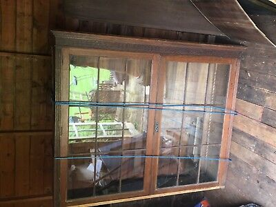 Antique large glass fronted oak bookcase, restoration project. Family piece.