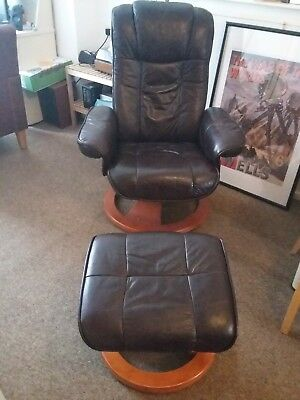 Genuine leather reclining swivel chair and footstool. Danish style.