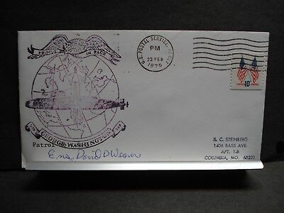 USS GEORGE WASHINGTON SSBN-598 Naval Cover 1975 SIGNED Cachet