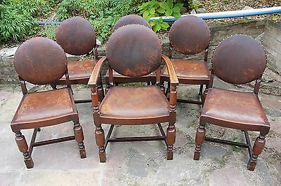 Set of 6 Victorian Dining Chairs - Wood & Leather