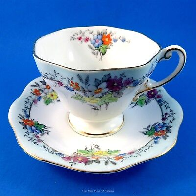 Handpainted Floral Bouquet with Light Blue Edge Foley Tea Cup and Saucer Set