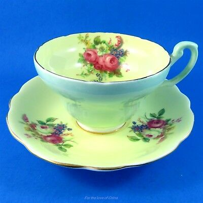 Pale Green with Pale Yellow and Florals Foley Tea Cup and Saucer Set