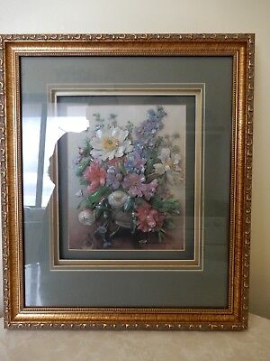 Albert Williams Flowers In A Vase Paper Tole Framed 3D Shadow Box Picture Bnnt