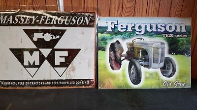Massey Ferguson Logo  & Ferguson Te 20 2- Tractor  Metal Tin Signs New