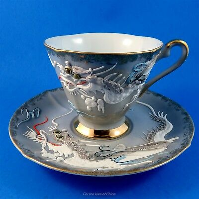 Stunning Moriage White Dragon on Gray Castle Japan Tea Cup and Saucer Set