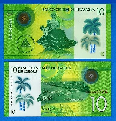 Nicaragua P-208 10 Cordobas Year 2014 Uncirculated Banknote FREE SHIPPING