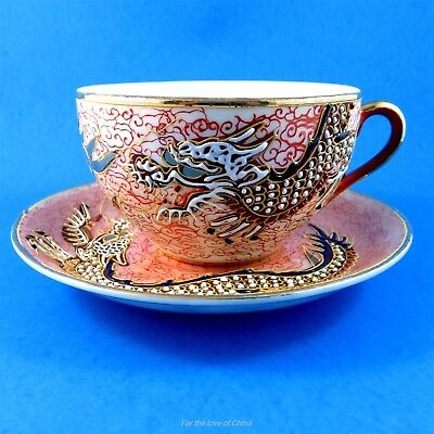 Moriage Dragon on Peach Background Occupied Japan Tea Cup and Saucer Set