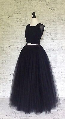 Halloween party ball show dress up outfit black tulle net full length maxi skirt