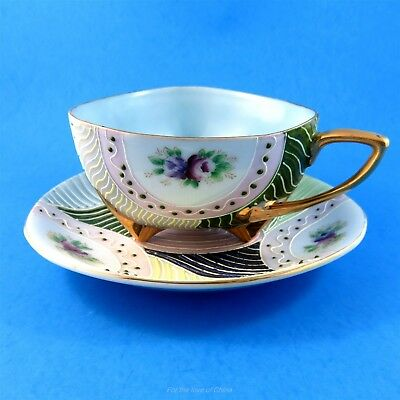 Unusual Triangle & Colorful Morige Textured Floral Japan Tea Cup and Saucer
