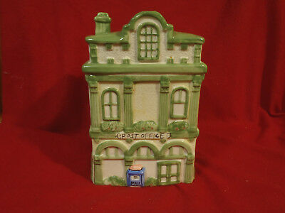 Glazed Ceramic Post Office Cookie Jar Very Good Condition   cookies not included