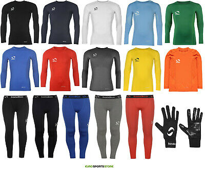 SONDICO Boys Base Layer Long Sleeve Top Leggings Bottoms Sports Football Rugby