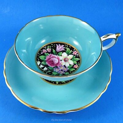Blue Border with Sweet Pea Center on Black Paragon Tea Cup and Saucer Set
