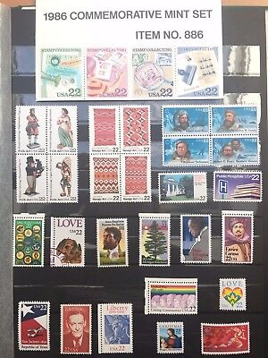 Kleines Lot 6 Briefmarken USA 1986 22 Cent-Werte
