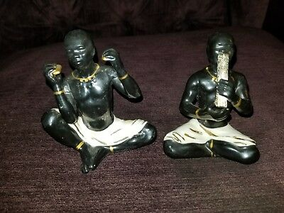 Vintage Mid Century African Black Tribal Ceramic Men Playing Instruments Neat!!!