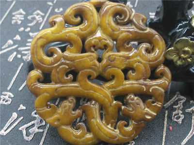 Old China Hand-carved jade Pendant worn aristocratic art collection   B84