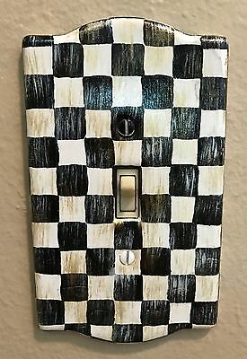 MY OWN Hand Painted Ceramic Light Switch Plate Outlet Cover -Black & White Check