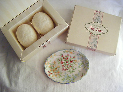 Longaberger ~ Mother's Day Soap Dish and Set of 2 Soaps Vintage Blossoms ~ NIB