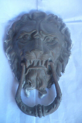 Big And Heavy  Antique Solid Brass  Lion Head Face Door Knocker