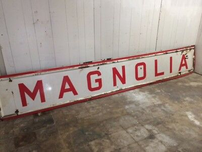Vintage Magnolia Oil & Gas Porcelain 12' X 2' Sign