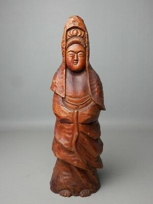 Japanese Vintage Hand Carved Wood Buddhist Statue Kannon Goddess Buddha Quan Yin