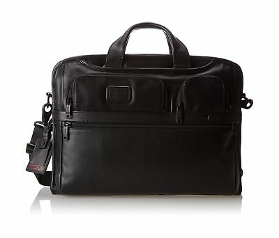 Tumi Alpha 2 Compact Large Screen Laptop Leather Brief Black One Size