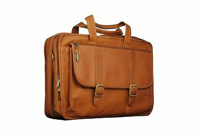 David King & Co. Expandable Laptop Briefcase Tan One Size