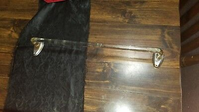 1 VINTAGE GLASS ROD TOWEL BAR w/ CHROME METAL BRACKETS