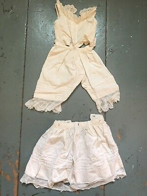 Antique Victorian Childs Doll Underwear Combined Skirt Camisole Bloomers