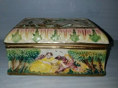 Beautiful Antique Hand Painted Capodimonte Covered Box Stamped