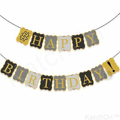 VINTAGE HAPPY BIRTHDAY BANNER DECORATIONS - Black and Gold Birthday Banner