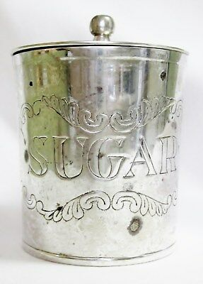 Vintage SUGAR BOWL can SILVER PLATE attached HINGED LID Embossed Design