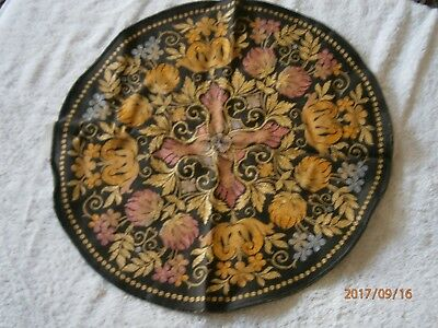 """Vintage Antique Asian Oriental Embroidered Tapestry Silk Chinese round 16.5"""""""