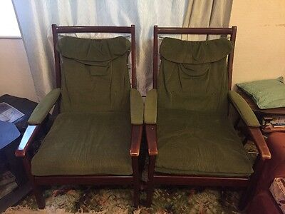 Paid Of Vintage Retro CINTIQUE Solid Made Original 1950's 1960's ArmChairs Sofa