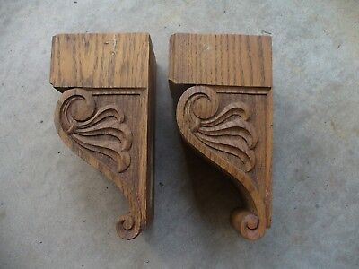 Set of 2 Interior Oak Corbels Old Architectural Salvage Re-purpose