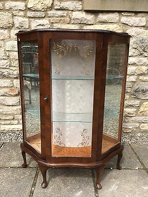 ANTIQUE RETRO 1930s GLASS MIRROR CHINA CABINET QUEEN ANNE LEGS + KEY shabby chic