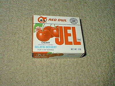 Vintage Red Owl Grocery Food Store Cherry Jello Full Box