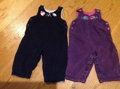 A cute pair of Jojo Maman Bebe dungarees, elephant and squirrel, 6-12 months