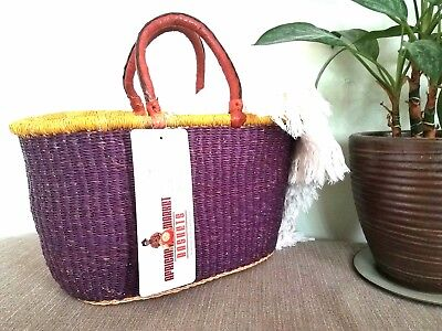 African Market Basket Purple Handwoven Ghana Fair Trade w/ Leather Handles NWT