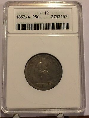 1853/4 Seated Liberty Quarter ANACS F 12 VERY RARE 1853 3 Over 4 25c ANACS F12 >