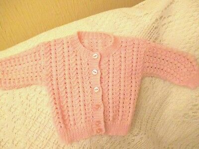 Baby Girl 12-18 months Pink Knitted Patterned Cardigan