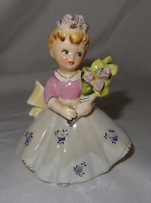 Vintage Lefton Girl With Bouquet Of Flowers Figurine Birthday Girl