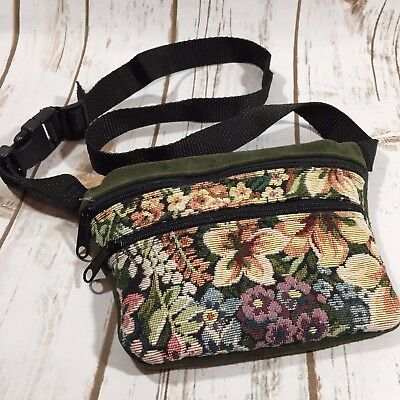 """Preston Leather Products Suede Fanny Pack Flowers Green 42"""" Adjustable USA A5"""