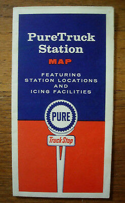 1958 Pure Oil Truck Station Road Map Stations & Icing Facilities Truck Stops