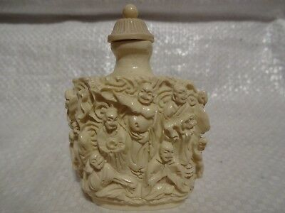 Vtg Antique Chinese Carved Snuff Scent Perfume Bottle