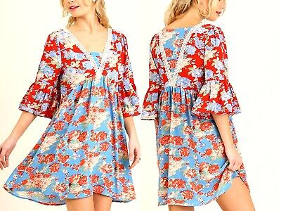 Umgee Dress Size XL S M L Floral Lace Tunic 3/4 Bell Sleeve Swing Boho Women New